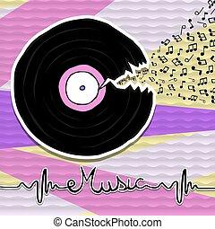 concetto, musica, vinile, cd, nota, cartone animato, vendemmia