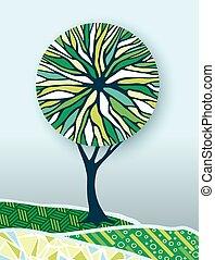 concetto, natura, albero, illustrazione, ambiente, verde