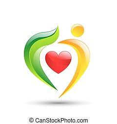 concetto, natura, eco, albero, persona, amare