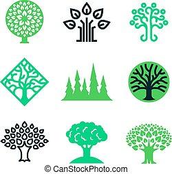 concetto, natura, eco, albero, vettore, verde, educazione, logo.
