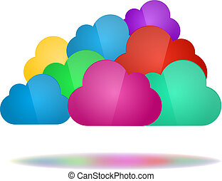 concetto, nubi, calcolare, colorare, -, set, nuvola