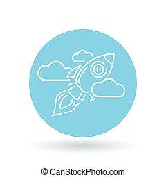 concetto, nubi, illustration., razzo, segno., volare, simbolo., astronave, vettore, nave, icon.