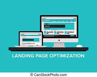 concetto, optimization, atterraggio, pagina