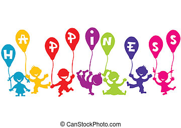 concetto, palloni, bambini, felicità, infanzia