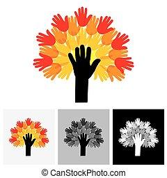 concetto, palme, colorito, &, -, albero, mano, vettore, umano, icona