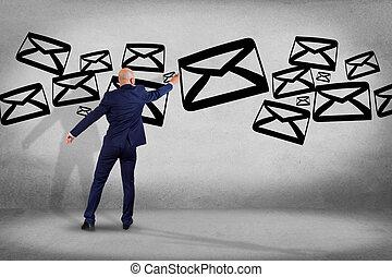 concetto, parete, -, scrittura, fronte, interfaccia, uomo affari, tecnologia, email