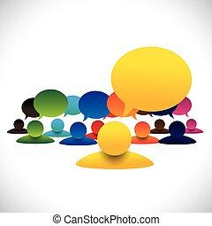 concetto, parlare, &, empl, direttore, vettore, membri, riunione, condottiero