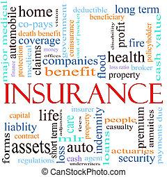 concetto, parola, assicurazione, illustrazione