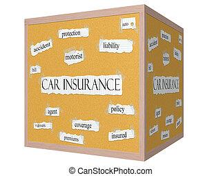 concetto, parola, automobile, corkboard, cubo, assicurazione, 3d