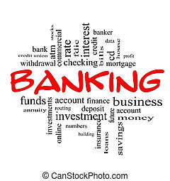 concetto, parola, &, bancario, nero rosso, nuvola