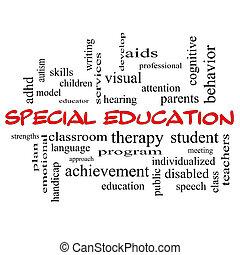 concetto, parola, cappucci, speciale, educazione, nuvola, rosso
