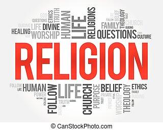 concetto, parola, collage, religione, fondo, sociale, nuvola