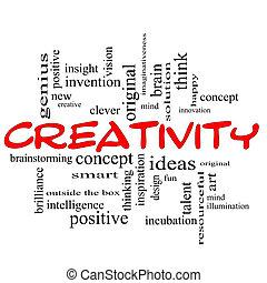 concetto, parola, creatività, nube nera, rosso