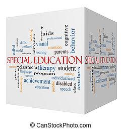 concetto, parola, cubo, speciale, educazione, nuvola, 3d