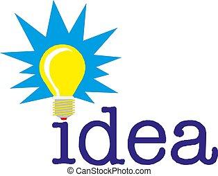 concetto, parola, luce, idea, illustrazione, vettore, bulbo
