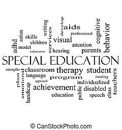 concetto, parola, nube nera, bianco, educazione, speciale