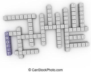 concetto, parola, profitto, immagine, nuvola, 3d