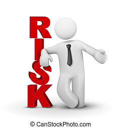 concetto, parola, rischio, presentare, uomo affari, 3d