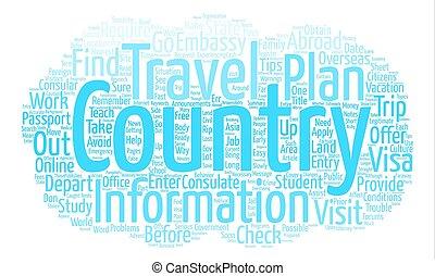 concetto, parola, studenti, testo, viaggiare, un po', fondo, punte, nuvola