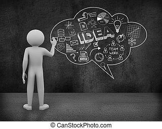 concetto, persona affari, bolla discorso, disegno, 3d