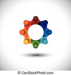 concetto, personale, o, vettore, riunione, lavorante, funzionari