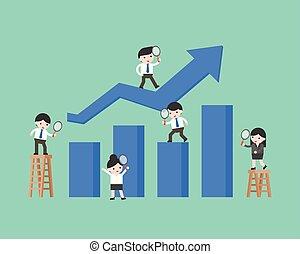concetto, persone affari, grafico, analisi, dati