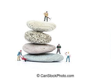 concetto, persone affari, ostacoli, superare, miniatura, lavoro squadra