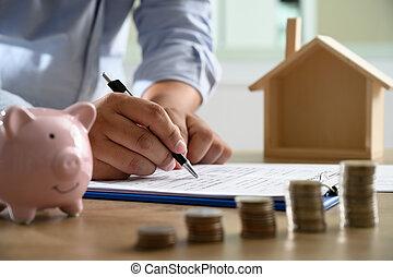 concetto, persone affari, questo, negoziare, segno, contratto, proprietà, bisogno, casa, lei, dove