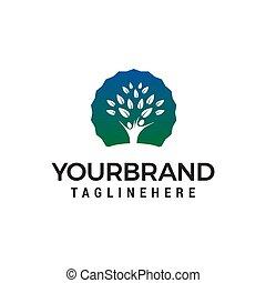 concetto, persone, albero, vettore, disegno, sagoma, logotipo