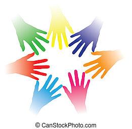 concetto, persone, altro, comunità, tenuto, bonding, associazione, gruppo, networking, indicare, colorito, squadra, illustrazione, porzione porge, persone, insieme, multirazziale, ciascuno, spirito, ecc., sociale