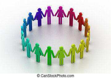 concetto, persone, creare, squadra lavoro, circle., 3d