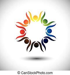 concetto, persone, festeggiare, vivace, bambini, anche, festa, cerchio, eccitato, ballo, colorito, friendship., gioco, bambini, amici, rappresenta, scuola, grafico, persone, personale, vettore, o