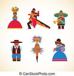 concetto, persone, -, illustrazione, sud americano