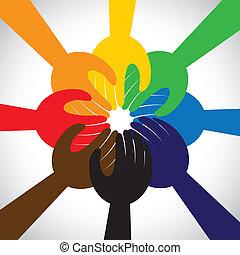 concetto, persone, lavoro squadra, voto, promessa, gruppo, -, anche, cerchio, unità, mani, solidarietà, rappresenta, pegno, grafico, questo, presa, impegno, vettore, icon., amicizia, o