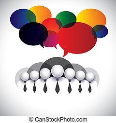 concetto, persone, membri, amministrazione, &, media, -, comunicazione, anche, asse, vector., bianco, mostra, rete, ditta, grafico, conferenza, colletto, interazione, personale, sociale, corporativo esecutivo