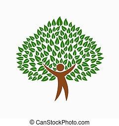 concetto, persone, simbolo, albero, ambiente, verde