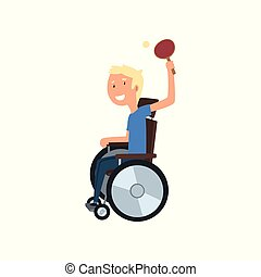 concetto, persone, tennis, illustrazione, riabilitazione, invalido, vettore, fondo, tavola, bianco, gioco, uomo