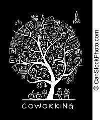 concetto, persone, ufficio, albero, coworking, disegno, tuo
