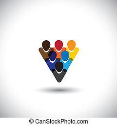 concetto, persone ufficio, comunità, integrità, rete, &, -, media, anche, unità, vector., internet, colorito, esposizione, linea, personale, rappresenta, grafico, personale, questo, ecc, comunità, sociale