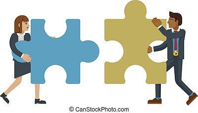 concetto, pezzo, caratteri, jigsaw confondono, affari
