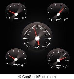 concetto, potere, automobile, metro, fondo., vettore, nero, illustrazione, calibro, velocità, cruscotto
