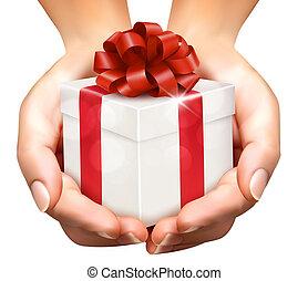 concetto, presa a terra, dare regalo, boxes., presenta, fondo, mani, vacanza
