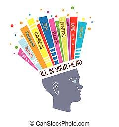 concetto, psicologia, pensare, positivo, illustrazione, sentimenti, ottimistico