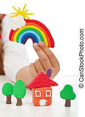 concetto, pulito, colorito, bambino, -, mano, ambiente, fatto, figure, presa a terra, argilla
