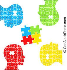 concetto, puzzle, vettore, teste