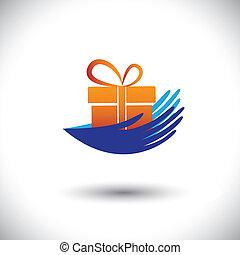 concetto, regalo, graphic-, donna, icon(symbol), vettore, mani