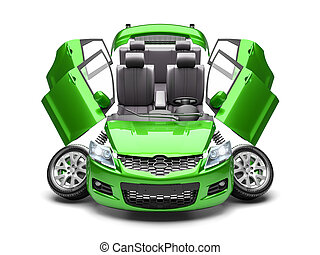 concetto, render, automobile, parts., risparmiare, 3d