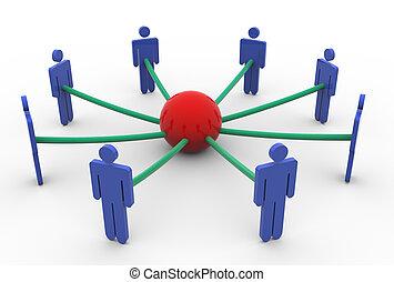 concetto, rete, affari, 3d
