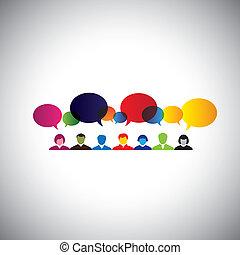 concetto, rete, parlare, persone, sociale, -, vect, ciarlare, linea