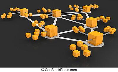 concetto, rete, squadre affari